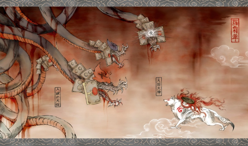 Amaterasu facing Orochi