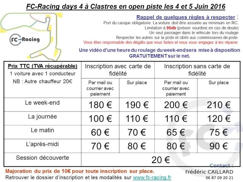 circuit clastres fc racing days 4 les 4 et 5 juin 2016 clio rs concept. Black Bedroom Furniture Sets. Home Design Ideas