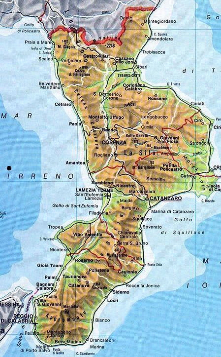 Cartina Muta Calabria Ionica