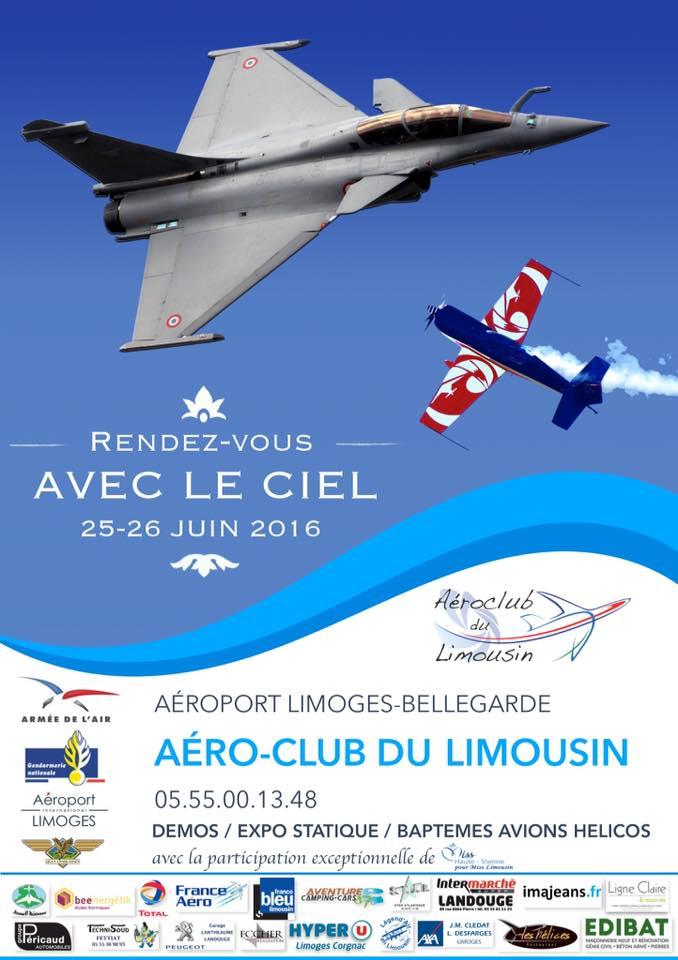 Rdv avec le Ciel AC Limousin 2016,les 25 et 26 juin 2016 Rendez-vous avec le ciel limoges,Aéroport International de Limoges , French Airshow 2016