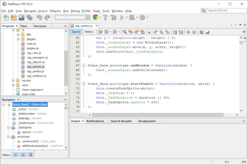 Installer et utiliser netbeans avec un projet rpgmaker mv for Ouvrir fenetre javascript