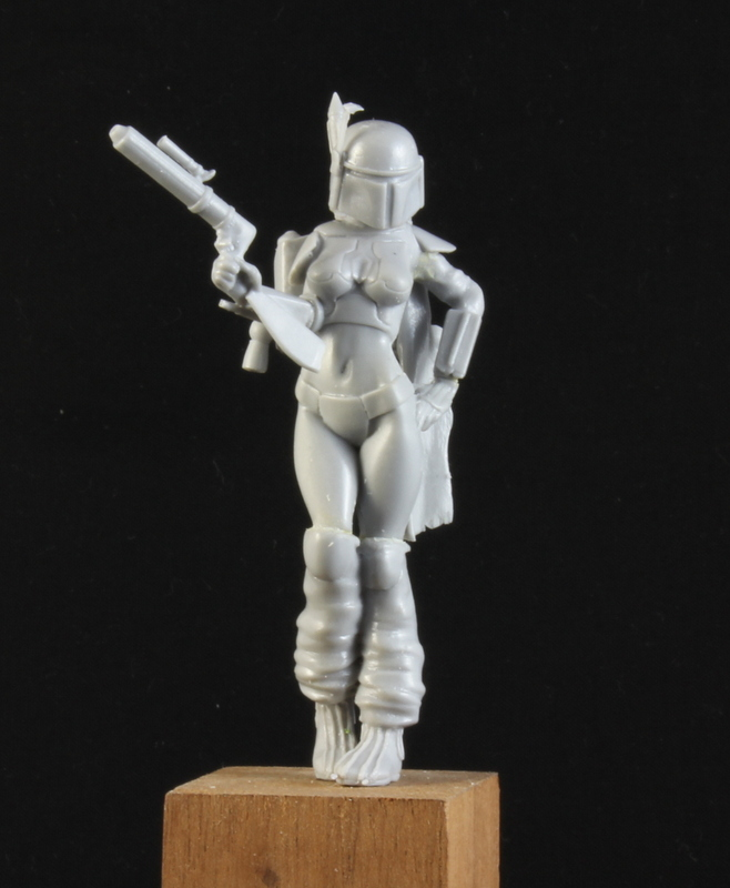 boba feth 75mm girl miniature