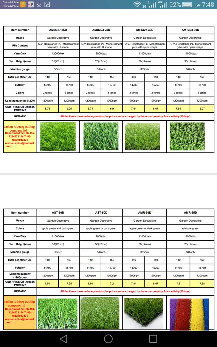 العشب الصناعي المميز (السعر بلداخل)