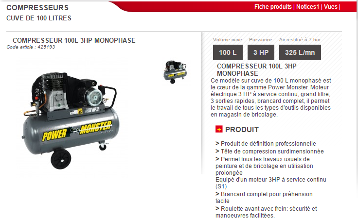 compresseur 100l 3hp