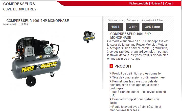 compresseur 100l 3hp