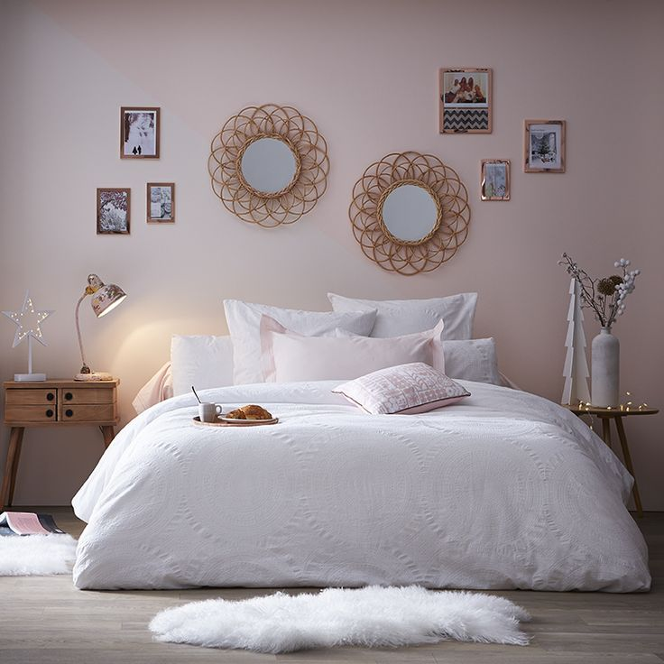 chambre cocooning vieux rose blanc et gris. Black Bedroom Furniture Sets. Home Design Ideas
